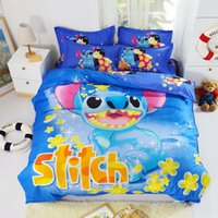 Wholesale Mickey Mouse Lilo And Stitch Bedding Sets Twin Full queen Duvet Comforter Cover set Oil Painting bedding Sets piece set