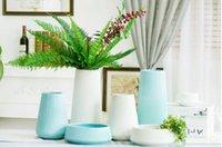 Wholesale Simple modern high temperature ceramic glaze vase flower decoration is three piece crafts White Medium
