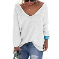 Wholesale Women s Autumn Winter Casual Loose V Neck Long Sleeve Knitted Pullover Sweater