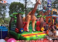 animal house theme - zoo bounce house inflatable jungle theme giraffe jumping bouncers for kids
