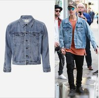 Wholesale Fear of God denim jackets New Veste Kanye West Men Clothes Hip Hop Brand Clothing Gd Jackets Coat Justin Bieber Jean Denim Jacket