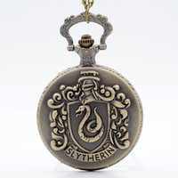 Wholesale Retro Bronze Harry Potter Hogwarts College Slytherin Quartz Pocket Watch Analog Pendant Necklace Mens Womens Watches Chain Gift
