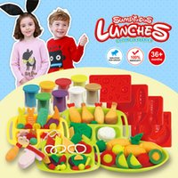 Wholesale Color Clay Dough set Funny Children Cooking Lunch Free Tools and Accessories For Kid the best gift for children Large