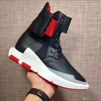 Wholesale Y NOCI Core Black Scarlet White BY2102 Men Fashion High Tops Leather Ankle Boots Sport Shoes Size with Box