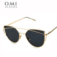 acrylic mirror panel - WHO CUTIE Fashion Women Cat Eye Sunglasses Classic Brand Designer Twin Beams Sun Glasses Coating Mirror Flat Panel Lens OM206