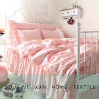Wholesale 4pcs bedskirt bedding set South Korean style with strawberry printing combed cotton tc