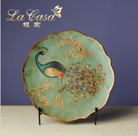 Wholesale European ceramic plate The green peacock Angle plate sat dish hand painted married household furnishing articles