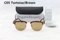 50pcs excellente qualité lunettes de soleil designer de mode semi lunettes de soleil sans cadre pour les hommes femmes léopard marron 51mm verre lentilles avec boîtes boîte