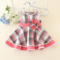 Wholesale Kids Girls Dresses Summer Baby Girl Plaid Print Bow Dress Infant Princess Cotton Tutu Dress for Party Children Boutique Clothing J004