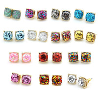 Wholesale Hot Sale Kate Style Opal Glitter Studs Gold Rainbow Square Glitter Stud Earrings New York Women Fashion Jewelry Opal Stud Earrings