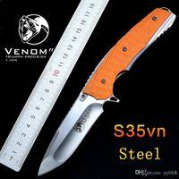 Wholesale Kevin John VENOM Folding Ball bearing Flipper Knife HRC S35VN blade G10 handle Tactical Survival Folding knives EDC tool