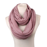 Cheap Wholesale- big size Fashion Solid Color Scarves Light weight Circle Loop Women Infinity Scarf Plain Snood For Ladies Shawl Cheap Scarfs