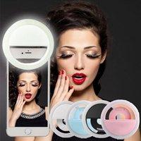Clip-on la lámpara de la luz del selfie del LED el reflector redondo auto del contador de tiempo del círculo del anillo del selfie del USB llevó las luces de destello para el iphone 7 6 5 nota 7 cámara ipad de la PC