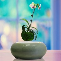Wholesale Two Color Levitating Floating Bonsai Ice Crack Ceramic Flower Pots with LED light decorate in office