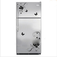 Wholesale Wisteria Flowers Stickers Fridge Magnets Wall Plant Decal Kitchen Refrigerator Flower Home Decor Single piece Package Fridge Magnets