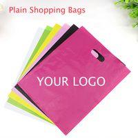 Compra Logotipo bolsa de plástico paquete-Bolsos plásticos del paquete del empaquetado de los bolsos de las compras de los bolsos del pa del pa PE del color de la llanura