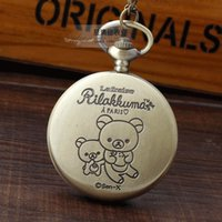 antique bear doll - Kawaii Cartoon Doll Rilakkuma Relax Bear Pocket Watch Necklace Pendant Chain Quartz Womens Watch Relogio De Bolso Kids Watches