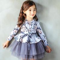 baby cakes yarn - Bowknot cake skirt Winter Floral dress girl princess dress gauze tutu Girl s Dresses Baby Kids Clothing Net yarn princess skirt