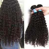 Wholesale 3 Bundles Curly Human Hair Weaves Unprocessed Natural Color Peruvian Virgin Hair Bundles A Grade Crochet Hair Extensions Total g