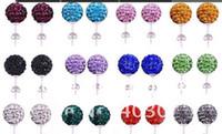 Wholesale 30 Pairs mm Jewelry hotsale new Rhinestone Mix Colors white New disco Ball beads clay Shamballal Crystal Earrings Stud
