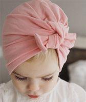 beanie babies head - Fashion Baby Hat Bunny Ear Caps Europe Style Turban Knot Head Wraps Hats Colors India Hats Kids Winter Beanie BH24