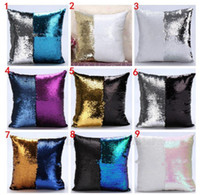 Wholesale Sequin Mermaid Pillow Case Glitter Reversible Sofa Cushion Cover Magic Glamour Pillow Case Mermaid Bright Pillow Covers Cafe Home Decor