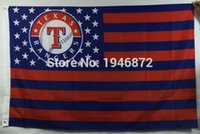Wholesale Texas Rangers Stars and Stripes Outdoor Baseball Flag X5FT
