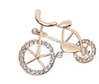 bicycle brooch - flower girl fashion party Zircon brooch pin three ring bow brooch pins jewelry gift wholesaleLovely brooch Crystal retro bicycle bike brooch