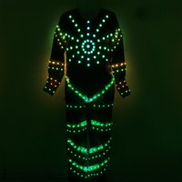 ballroom masks - YB015 Customized Size Full Color Led Lighting Clothing Wear Led Robot Luminous Costume With Led Mask For Stage Show Ballroom