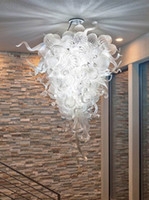 CE artistic glass design - Pure White Clear Glass Chandeliers Modern Artistic Design Ceiling Lamps Dale Chihuly Style Murano Glass LED Chandeliers