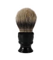 best shave - 2017 Luxury Pure Black Badger Hair Wet Shaving Brush Best Men Shave Gift Barber