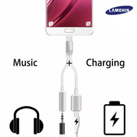 Wholesale Lamchin in Earphone Audio Charge Adapter Cable Connector to mm AUX Jack for Type C with Retail Package
