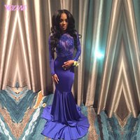 Wholesale New Arrival Royal Blue Prom Dresses Mermaid Long Sleeve Evening Gown Jewel Lace Appliques Beads Backless Party Dress Custom Made