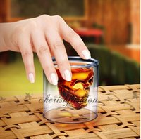 Wholesale Fedex DHL Free Newest Doomed Cup Crystal Skull Shot Glass Skull Head Vodka Shot Wine Glass Novelty Cup Z71 B