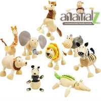 Wholesale Hot sale Anamalz Maple Wood Handmade Moveable Animals Toy Farm Animal Baby Educational Toys