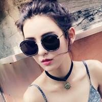 achat en gros de grosses lunettes de soleil noir super-Lunettes de soleil rondes noires superbes de lunettes de soleil de la mode 2016 des femmes de mode