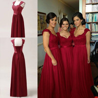 Wholesale Buy Hot Burgundy Chiffon Corset Long Bridesmaids Dress Wedding Bridal Ball Gown Formal Prom Dress