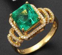 achat en gros de diamant vert bague en or jaune-Diamant véritable en émeraude vert naturel Diamants Bague or jaune 14 carats