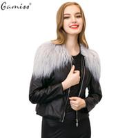 Gamiss 2016 de alta calidad de otoño de las mujeres de color negro corto Capa de piel elegante de cuello redondo de manga larga Zipper Tipo de PU chaqueta de cuero de las mujeres