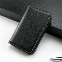 Wholesale Simple Style Mens Black Pocket PU Leather Business ID Credit Card Holder Case Wallet New Fashion