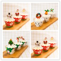 Wholesale Christmas Paper Cupcake wrappers toppers for party set santa claus party decoration cake cups JF