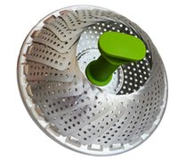 Wholesale GA Homefavor Foldable Vegetable Steamer Basket Stainless Steel Cook Utensil Fruit Vegetable Basket with Handle