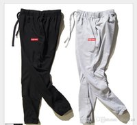 Wholesale 2017 Fasion Casual Supreme Pants Men Full Length Gym Clothing Black Grey Pencil Pants Solid Comfortable bunch of foot Joggers Trousers