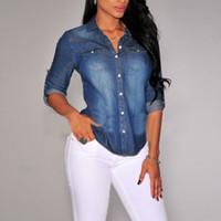 Wholesale Women Lapel Button Blue Down Denim Jean Shirts Pocket Slim Top Blouse Coat