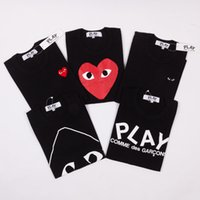 Wholesale cdg play fashion new style cotton Top quality love red heart couple tshirts black color Striped short sleeve mens t shirt