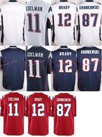 Wholesale 2017 Game Stitched Football Tom Brady Rob Gronkowski Julian Edelman Blank Blue white Red Jerseys Mix Order