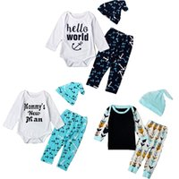 Wholesale newborn summer Autumn baby boy clothing set Hat Romper Pant baby Boys Girls Letter printed Kids suits