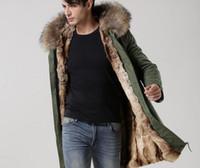 Wholesale Brown fur Mr Mrs itlay rabbit fur lined shell canvas green parkas Mr Mrs furs men long coats