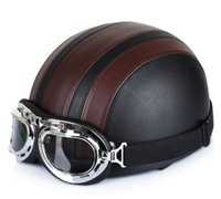 abs tours - Hot Sell New Brown Synthetic Leather Vintage Motorcycle Cruiser Touring Open Face Half Motor Scooter Helmets Visor Goggles