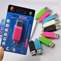Wholesale 2 in USB Male To Micro USB Dual Slot OTG Adapter With TF SD Memory Card Reader GB with retail box For Android Smartphone Tablet Samsung
